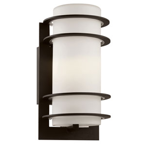 Cityscape Black Torch 11-Inch Wall Sconce with White Frost Glass