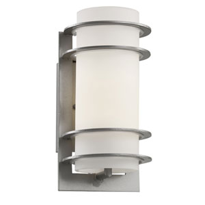 Cityscape Silver Torch 11-Inch Wall Sconce with White Frost Glass