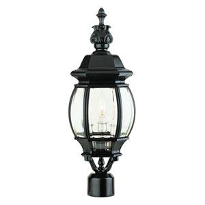 Three-Light Black Medium Outdoor Post Mount with Beveled Glass