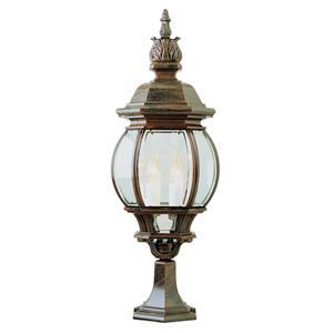 Four-Light Rust Large Outdoor Pier Mount with Beveled Glass