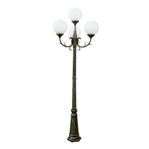 Madison 89 Inch 4 Globe Four-Light Outdoor Lamp Post -Black Gold