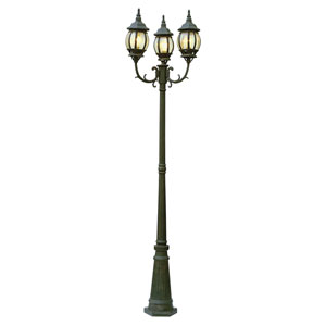 Niort 91 Inch High Three Lantern Lamp Post -Black Copper