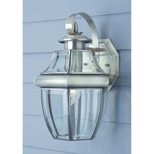 One-Light Brushed Nickel Small Outdoor Wall Lantern with Beveled Glass