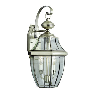 Two-Light Brushed Nickel Medium Outdoor Carriage Lantern with Beveled Glass