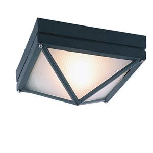 Craftsman Ho Ail Black 8.5-Inch Diamond Outdoor Flush Mount Ceiling Light