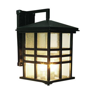 Three-Light Black Outdoor Wall Lantern with Seeded Glass