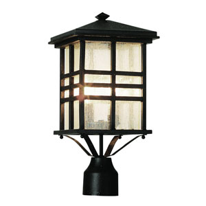 Craftsman Dark Bronze 16-Inch Post Top Lantern with Clear Seeded Rectangle Glass