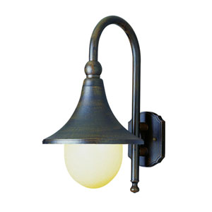 Santa Isabel 18-Inch Outdoor Wall Mount in Iron with Opal Polycarbonate Globe Glass