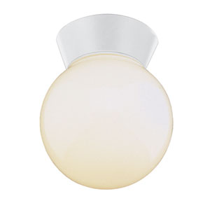 The Standard Regal 6-Inch Globe Outdoor Flush Mount White with Opal Globe Glass