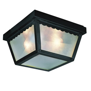 Smith Black 9-Inch Outdoor Flush Mount Ceiling Light