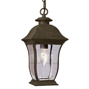 Classic 18-Inch Hanging Lantern in Black with Curved Beveled Clear Rectangular Glass