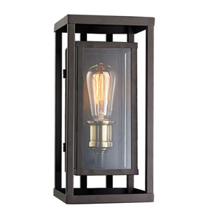 Showcase Oil Rubbed Bronze and Antique Brass 13-Inch One-Light Outdoor Wall Mount