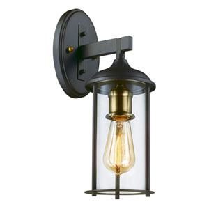 Blues Oil Rubbed Bronze and Antique Brass 14-Inch One-Light Outdoor Wall Mount
