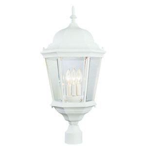 26 1/2 Inch Three-Light Post Top Lantern -White