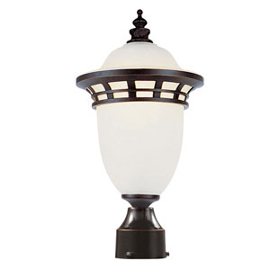 Bristol 16-Inch High Post Top Light Bronze with Frosted Glass