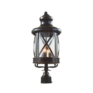 England Coast 26-Inch High Post Top Light in Bronze with Clear Seeded Glass