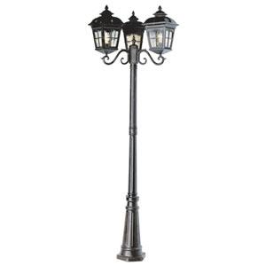 Three-Light Antique Rust Three-Lantern Outdoor Post Light