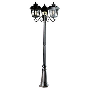 Chesapeake 85 Inch Tall Three Lantern Lamp Post -Black