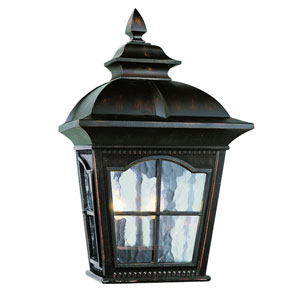 Two-Light Antique Rust Small Outdoor Wall Pocket