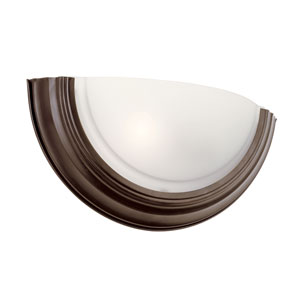 Rubbed Oil Bronze Half Round Frosted Sconce with Frosted Glass
