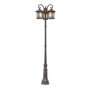 Corner Windows Three Lantern Lamp Post -Black