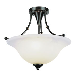 Payson Brushed Nickel 15-Inch 3 Light Semi-Flush-Mount with Alabaster Glass