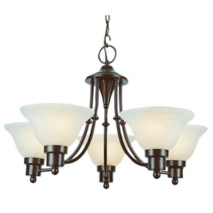 Contemporary Five-Light Weathered Bronze Uplight Chandelier