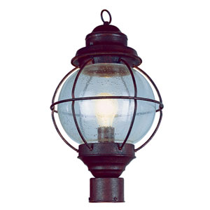 Onion Black Lantern Post Top 15-Inch with Clear Seeded Glass