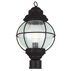 Onion Black Lantern Post Top 19-Inch with Clear Seeded Glass