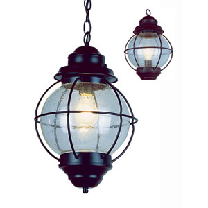 Hanging Onion Lantern 19-Inch in Bronze with Clear Seeded Glass