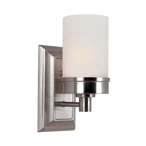 Brushed Nickel Urban Swag Single Wall Sconce with White Frosted Glass