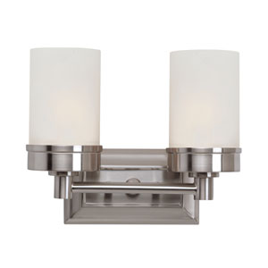 Brushed Nickel Urban Swag Double Sconce with White Frosted Glass
