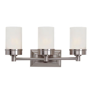 Brushed Nickel Urban Swag 3 Light Wall Bar with White Frosted Glass