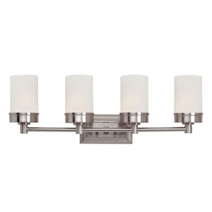 Brushed Nickel Urban Swag 4 Light Wall Bar with White Frosted Glass