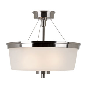 Brushed Nickel Urban Swag 14-Inch Semi-Flush Mount with White Frosted Glass