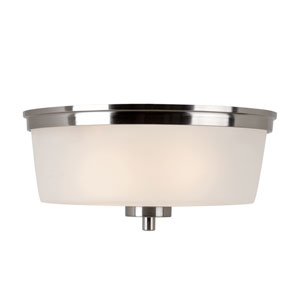 Brushed Nickel Urban Swag 14-Inch Flush Mount with White Frosted Glass