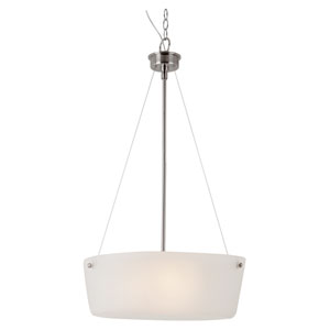 Brushed Nickel Urban Swag 20-Inch Pendant with White Frosted Glass