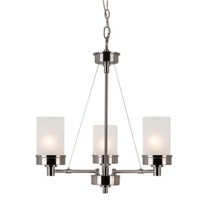 Brushed Nickel Urban Swag 3 Light Chandelier with White Frosted Glass
