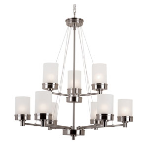 Brushed Nickel Urban Swag 2 Tier Chandelier with White Frosted Glass