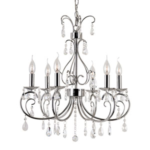 Polished Chrome Chic Nouveau 6 Light Chandelier with Clear Crystal Beads, Prism Cut