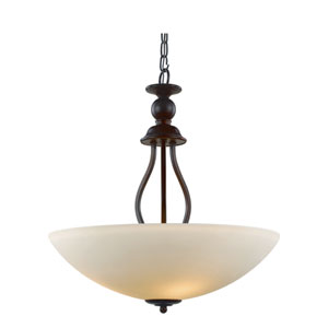 Rubbed Oil Bronze Three-Light 20-Inch Wide Bowl Pendant
