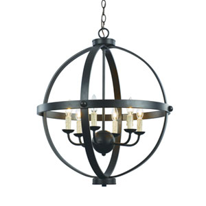 Rubbed Oil Bronze Six-Light 24-Inch Wide Globe Pendant