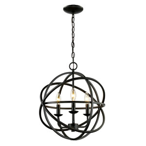 Rubbed Oil Bronze 19-Inch Three-Light Pendant