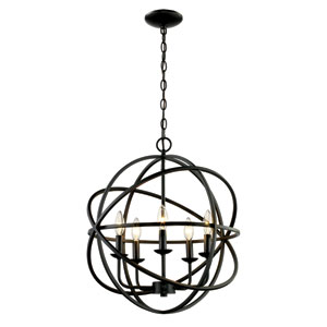 Rubbed Oil Bronze 23-Inch Five-Light Pendant