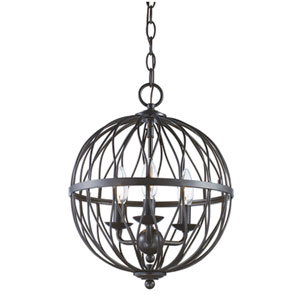Sequoia Rubbed Oil Bronze Three-Light Chandelier