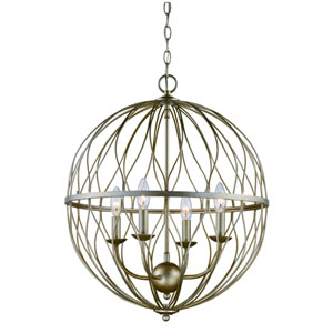Sequoia Antique Silver Leaf Four-Light Chandelier