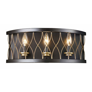 Rubbed Oil Bronze 10-Inch Three-Light Wall Sconce