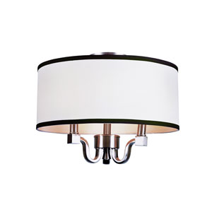 Metropolitan 15 Inch Wide Three-Light Ceiling Fixture Nickel Finish