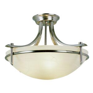 Contemporary Three-Light Brushed Nickel Semi-Flush