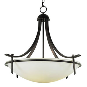 Modern Rubbed Oil Bronze Slim-Line 21-Inch Semi-Flush Mount with Frosted Glass